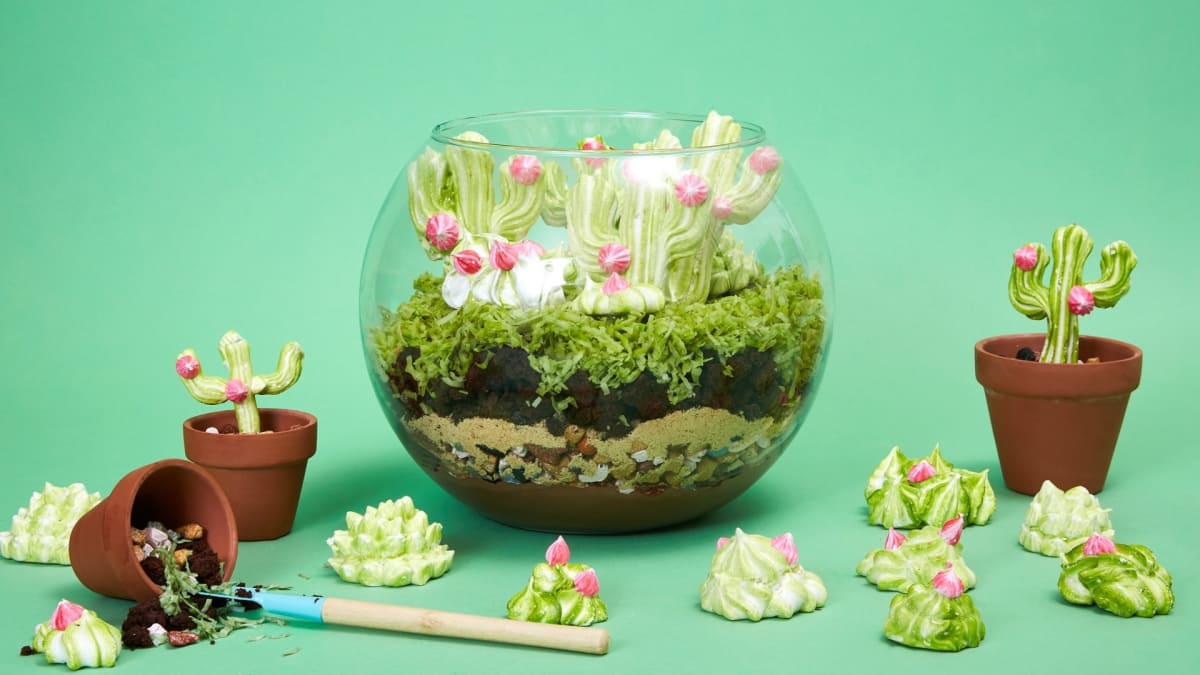 Rosie makes a fully edible terrarium layered with brownies and mousse.